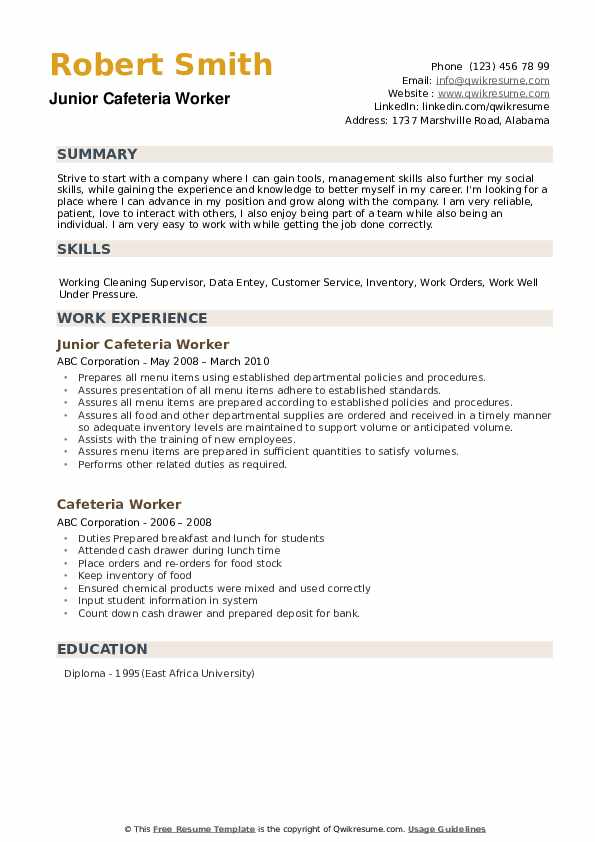 Junior Cafeteria Worker  Resume Format