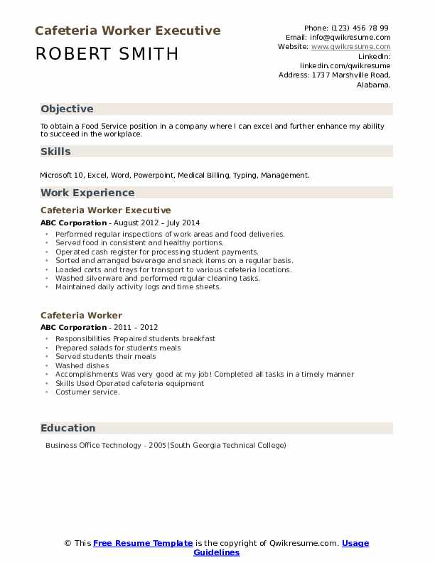 Cafeteria Worker Executive Resume Model