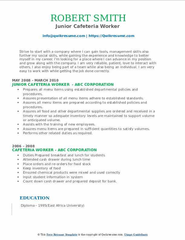 Maintenance Associate II Resume Template
