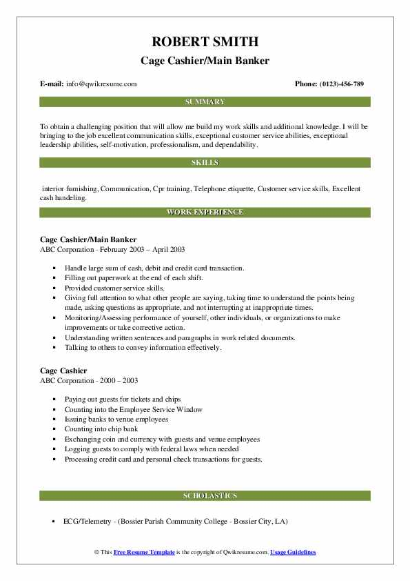 Cage Cashier/Main Banker Resume Sample
