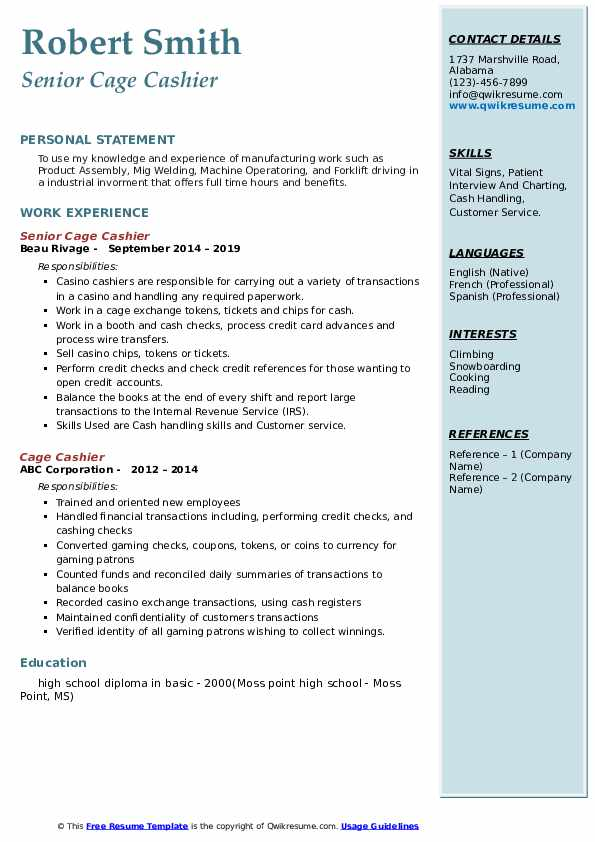 Senior Cage Cashier Resume Sample