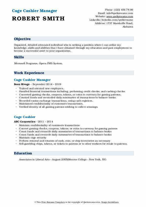 Cage Cashier Manager Resume Example