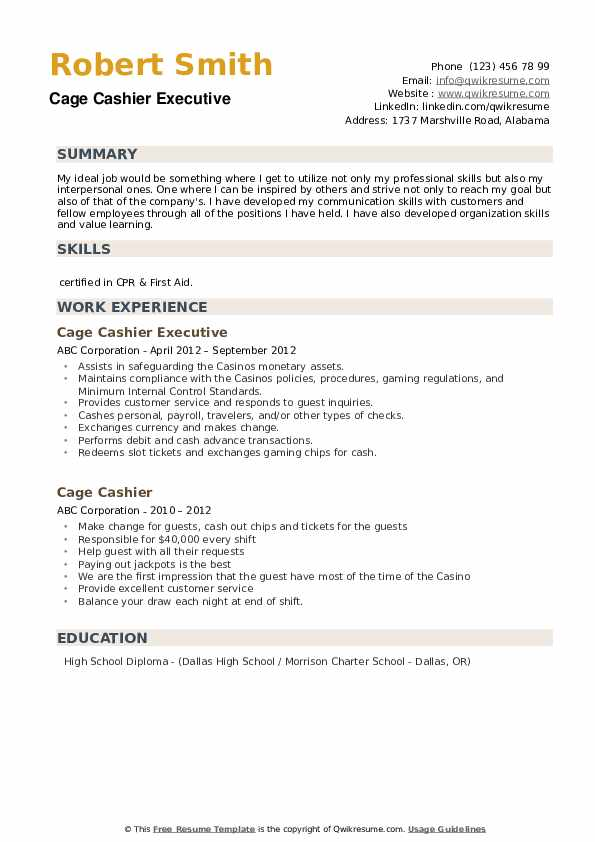 Cage Cashier Executive Resume Example