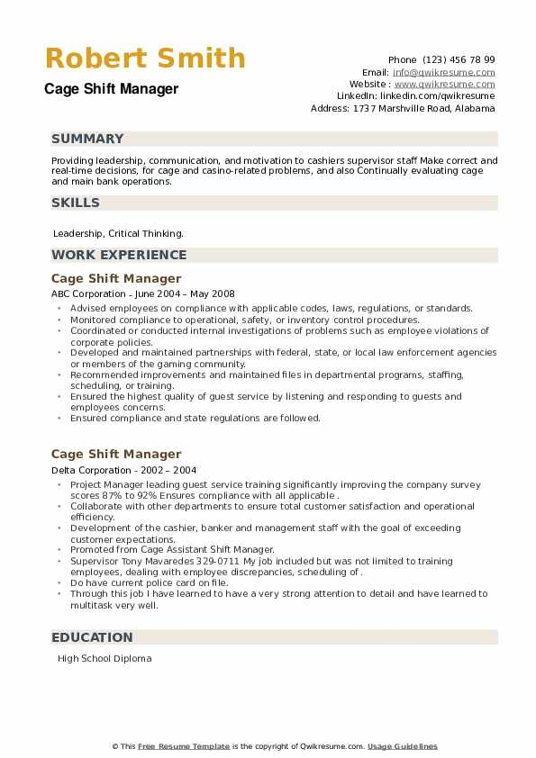 Cage Shift Manager Resume example