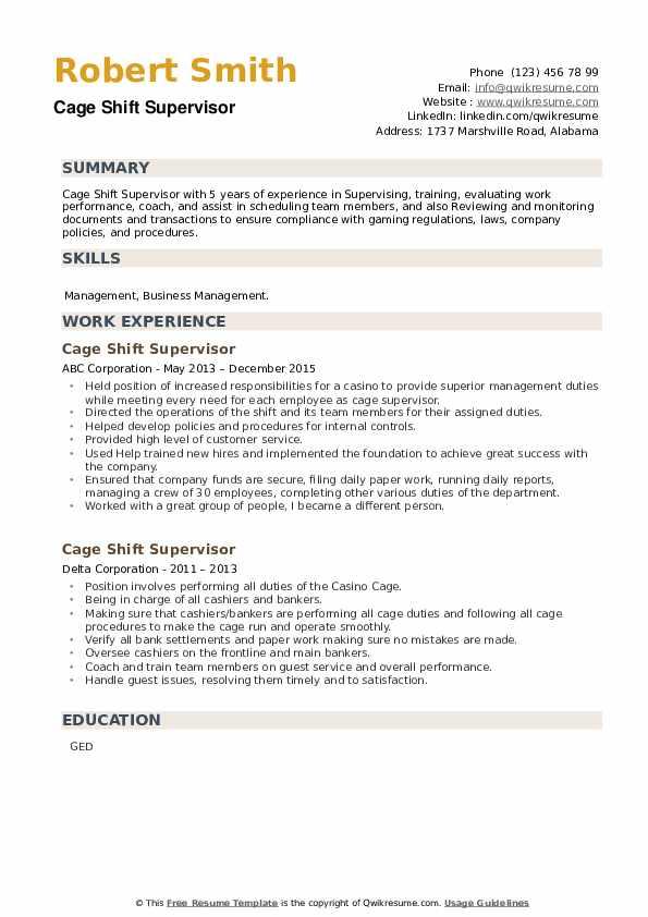 Cage Shift Supervisor Resume example
