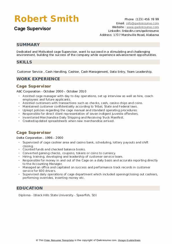 Cage Supervisor Resume example