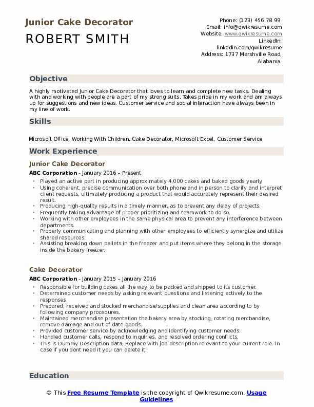 Junior Cake Decorator Resume Sample