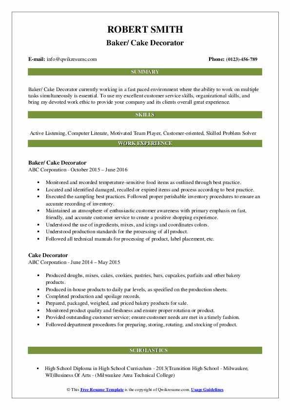 Baker/ Cake Decorator Resume Format