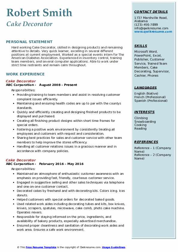 Cake Decorator Resume Sample
