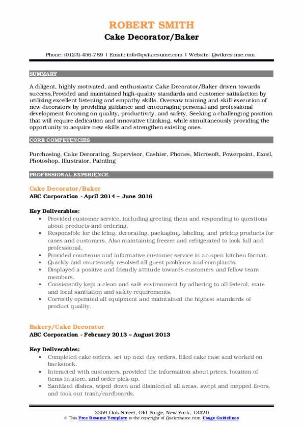 Cake Decorator/Baker Resume Sample