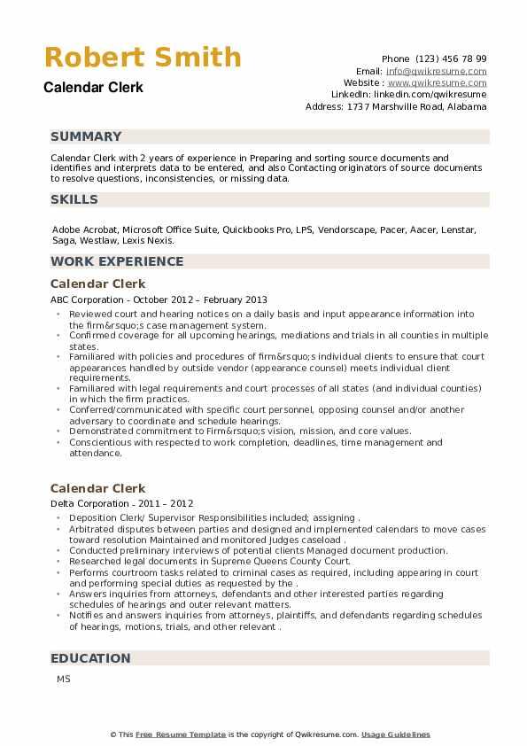 Calendar Clerk Resume example