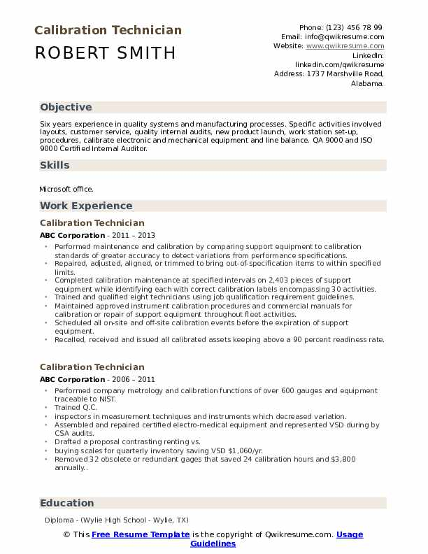 Calibration Technician Resume Sample