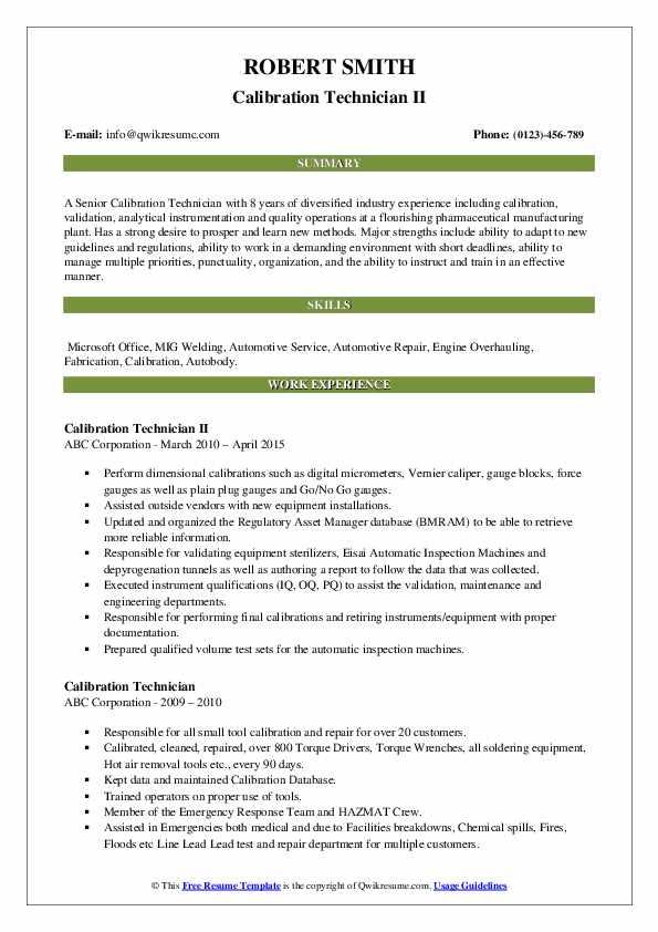 Calibration Technician II Resume Example