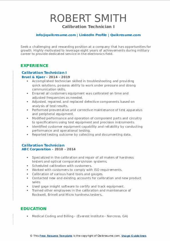 Calibration Technician I Resume Format