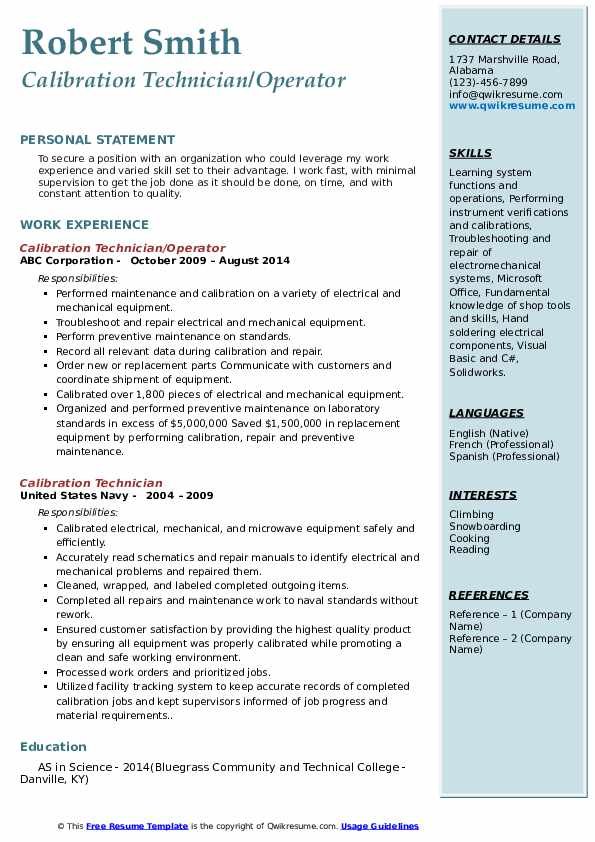 Calibration Technician/Operator Resume Sample