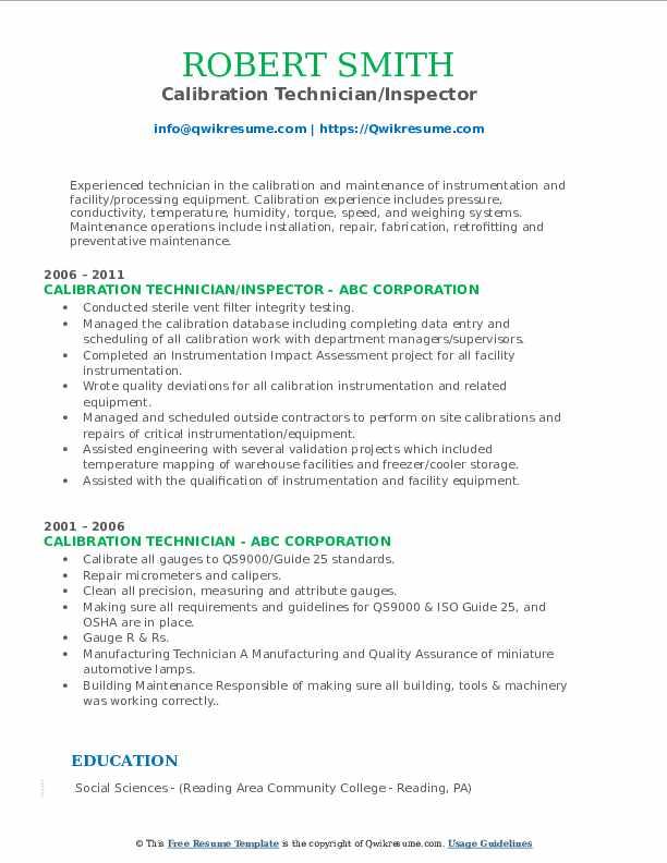 Calibration Technician/Inspector Resume Format