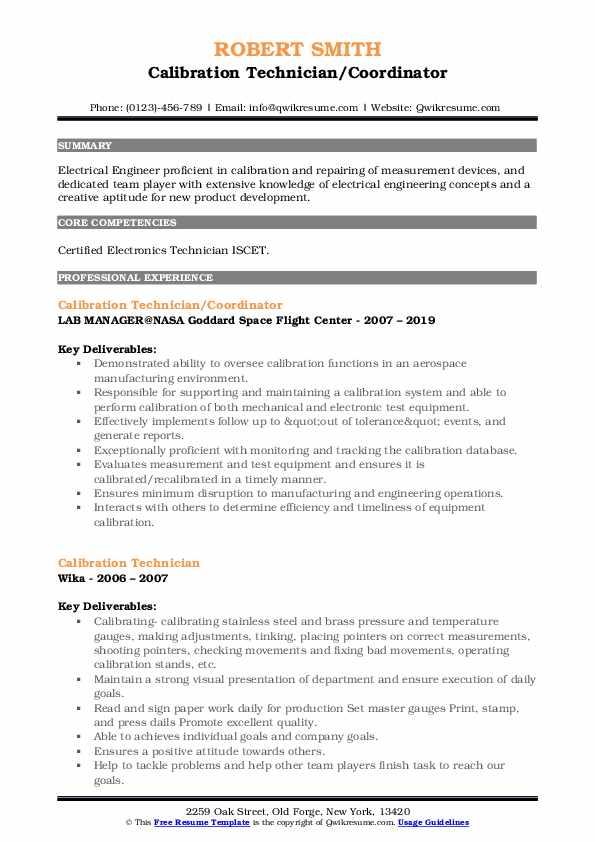 Calibration Technician/Coordinator Resume Template