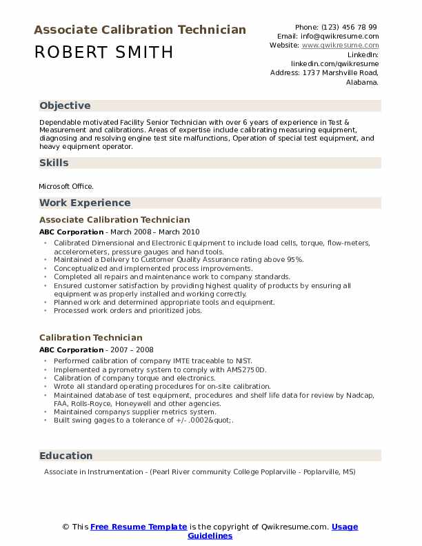 calibration technician resume samples