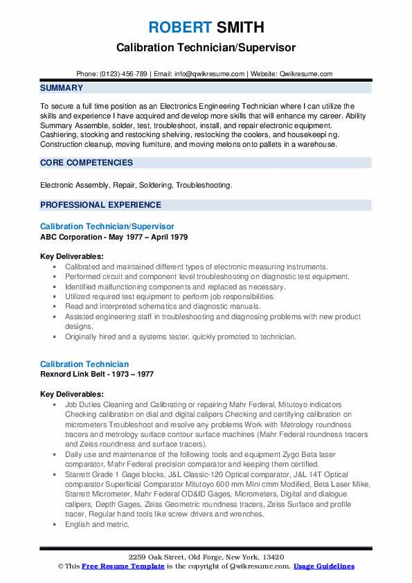 Calibration Technician/Supervisor Resume Sample