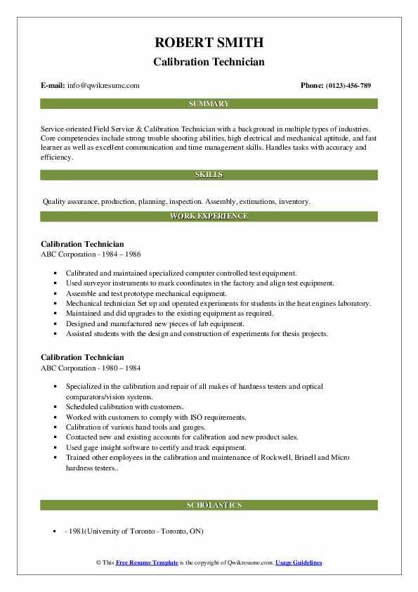 Calibration Technician Resume example