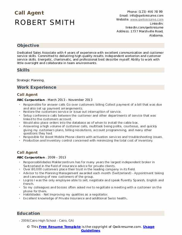 Call Agent Resume Format