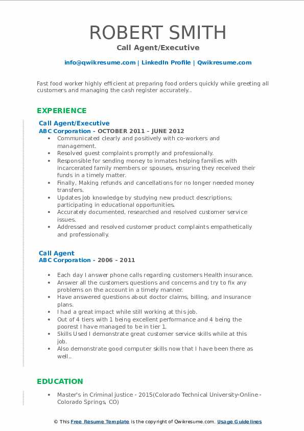 Call Agent/Executive Resume Format