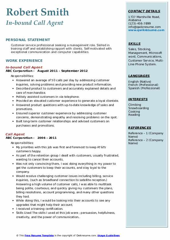 In-bound Call Agent Resume Sample