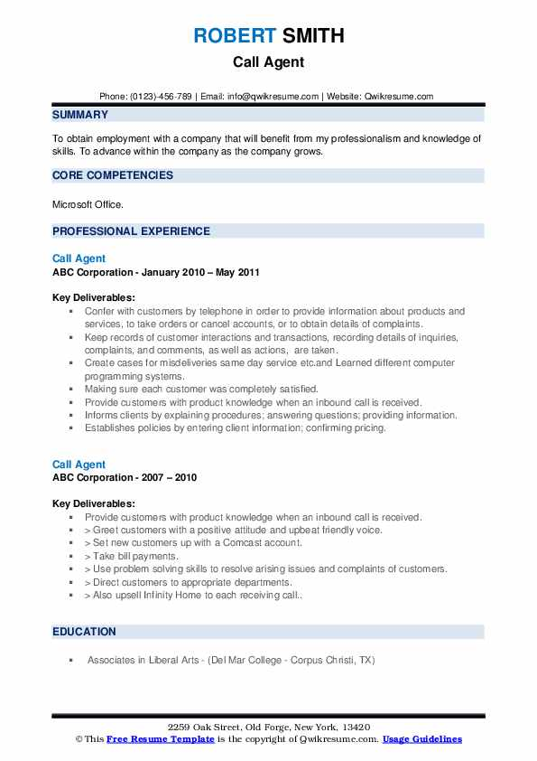 Call Agent Resume example