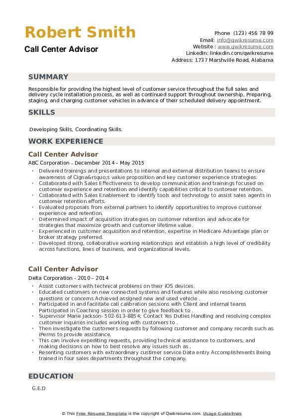 Call Center Advisor Resume example