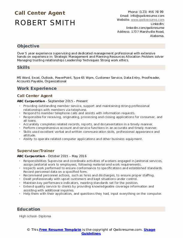 Call Center Agent Resume Example
