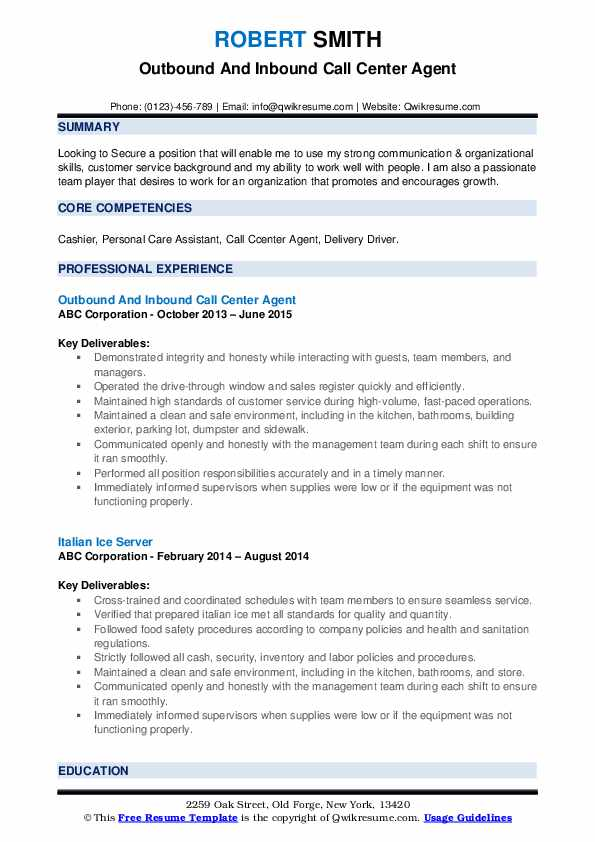 Outbound And Inbound Call Center Agent Resume Format