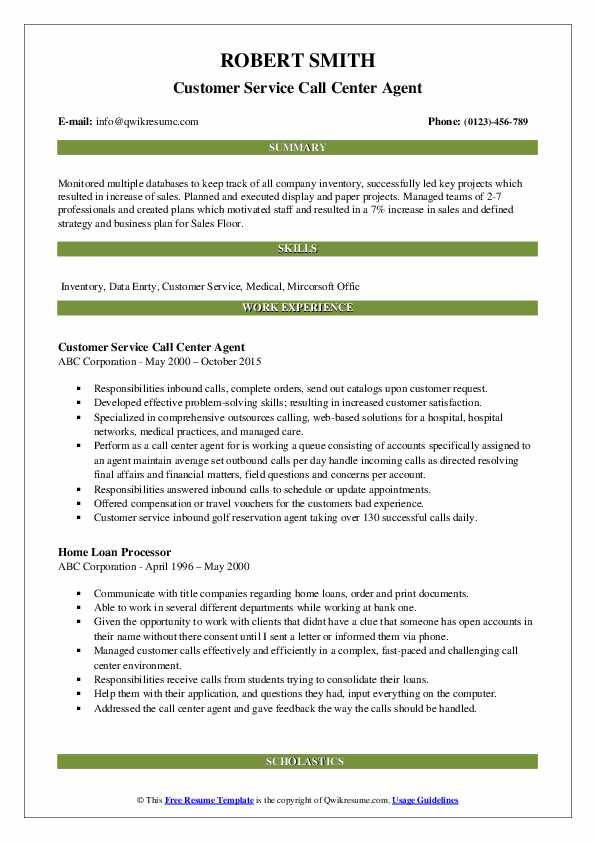 Customer Service Call Center Agent Resume Model