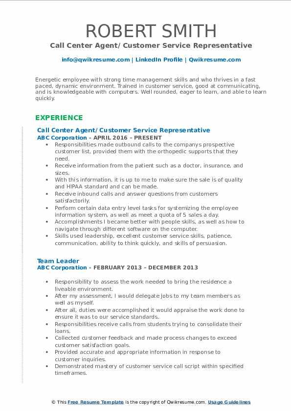 Call Center Agent/ Customer Service Representative Resume Model