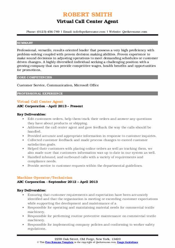 Virtual Call Center Agent Resume Example