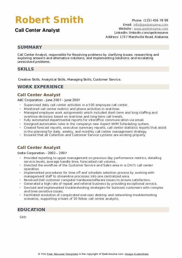 Call Center Analyst Resume example