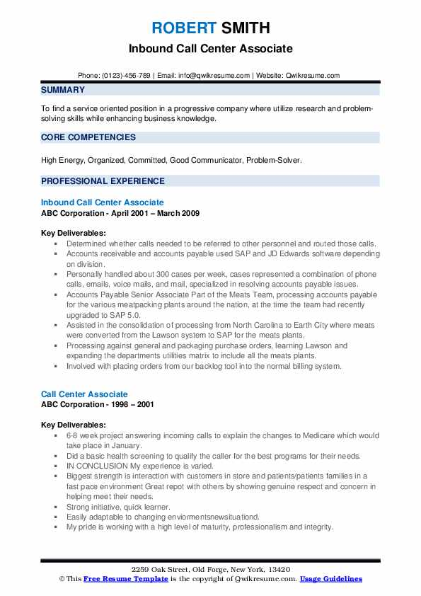 call center associate resume samples  qwikresume