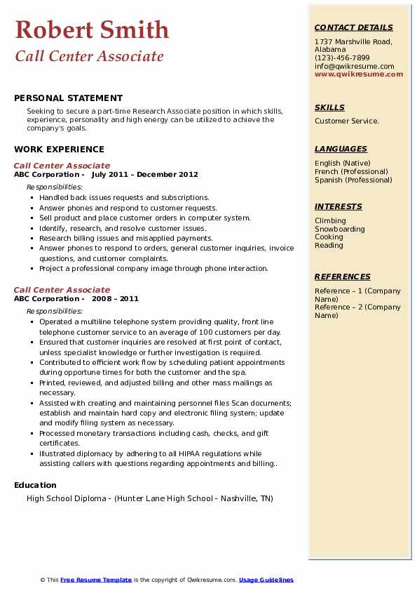 Call Center Associate Resume example