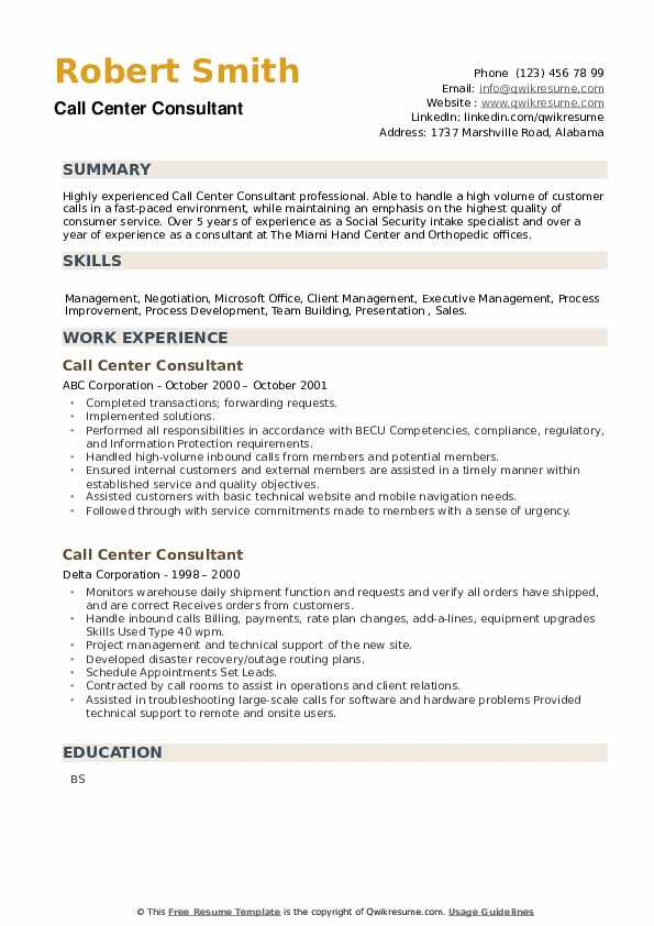 Call Center Consultant Resume example