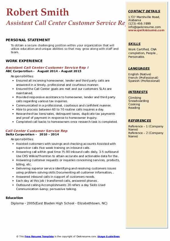 call center customer service rep resume samples