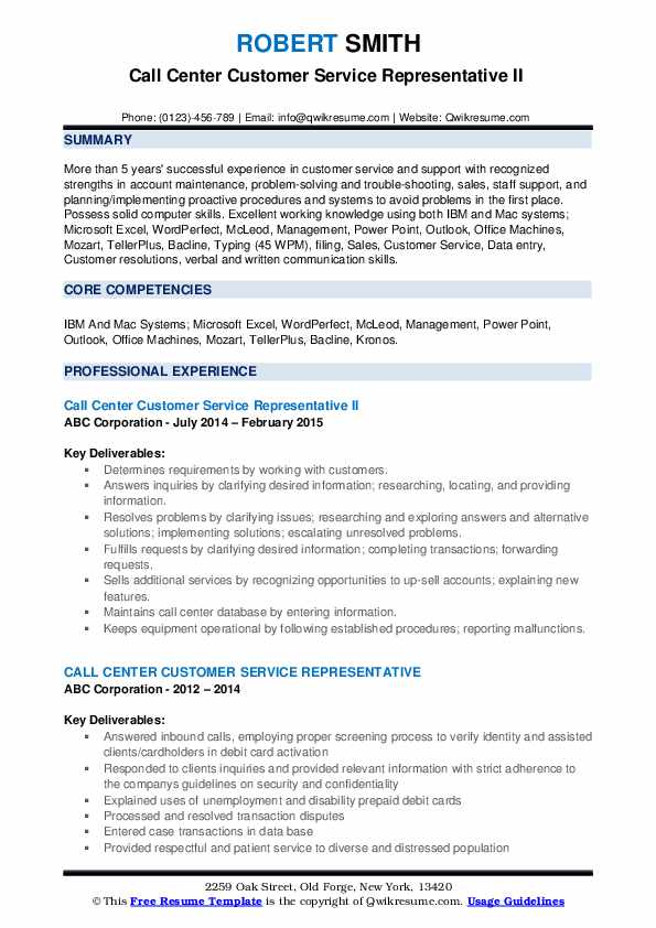 Call Center Customer Service Representative II  Resume Format