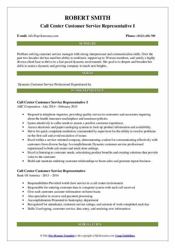 Call Center Customer Service Representative I Resume Model