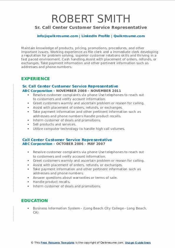Sr. Call Center Customer Service Representative Resume Sample