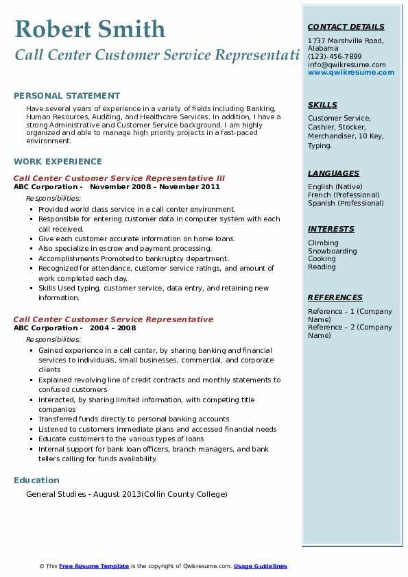 Call Center Customer Service Representative III Resume Model
