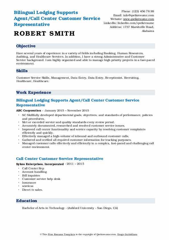 Bilingual Lodging Supports Agent/Call Center Customer Service Representative Resume Model