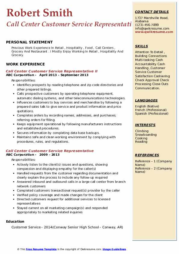 Call Center Customer Service Representative II Resume Example