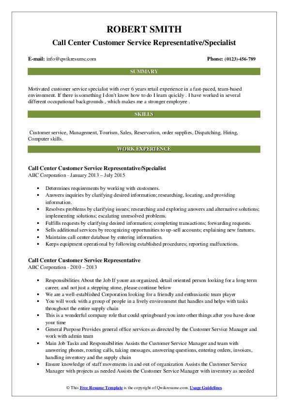 Call Center Customer Service Representative/Specialist Resume Sample