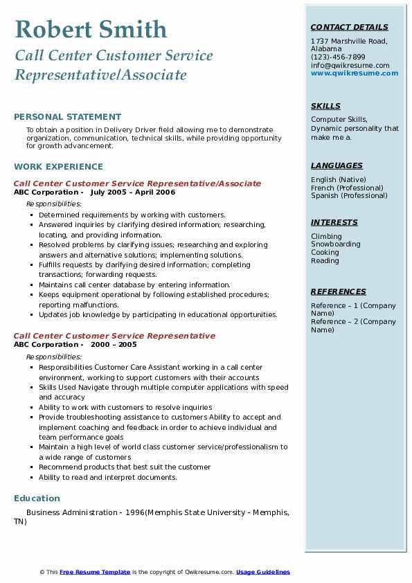 Call Center Customer Service Representative/Associate Resume Example