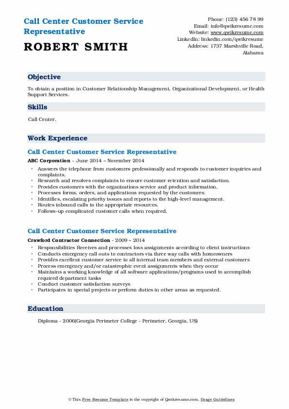 Call Center Customer Service Representative Resume example