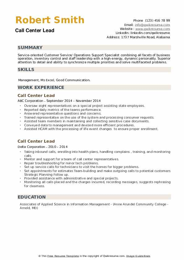 Call Center Lead Resume example