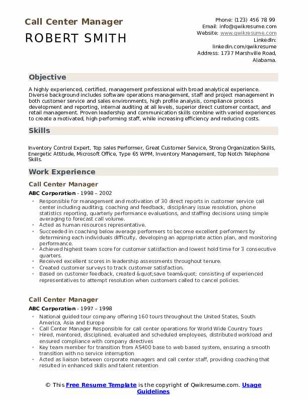 Call Center Manager Resume Samples Qwikresume